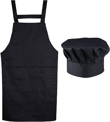 AONER (Kit de 2) Unisex Delantal Mandil Original de Peto de Chef ...