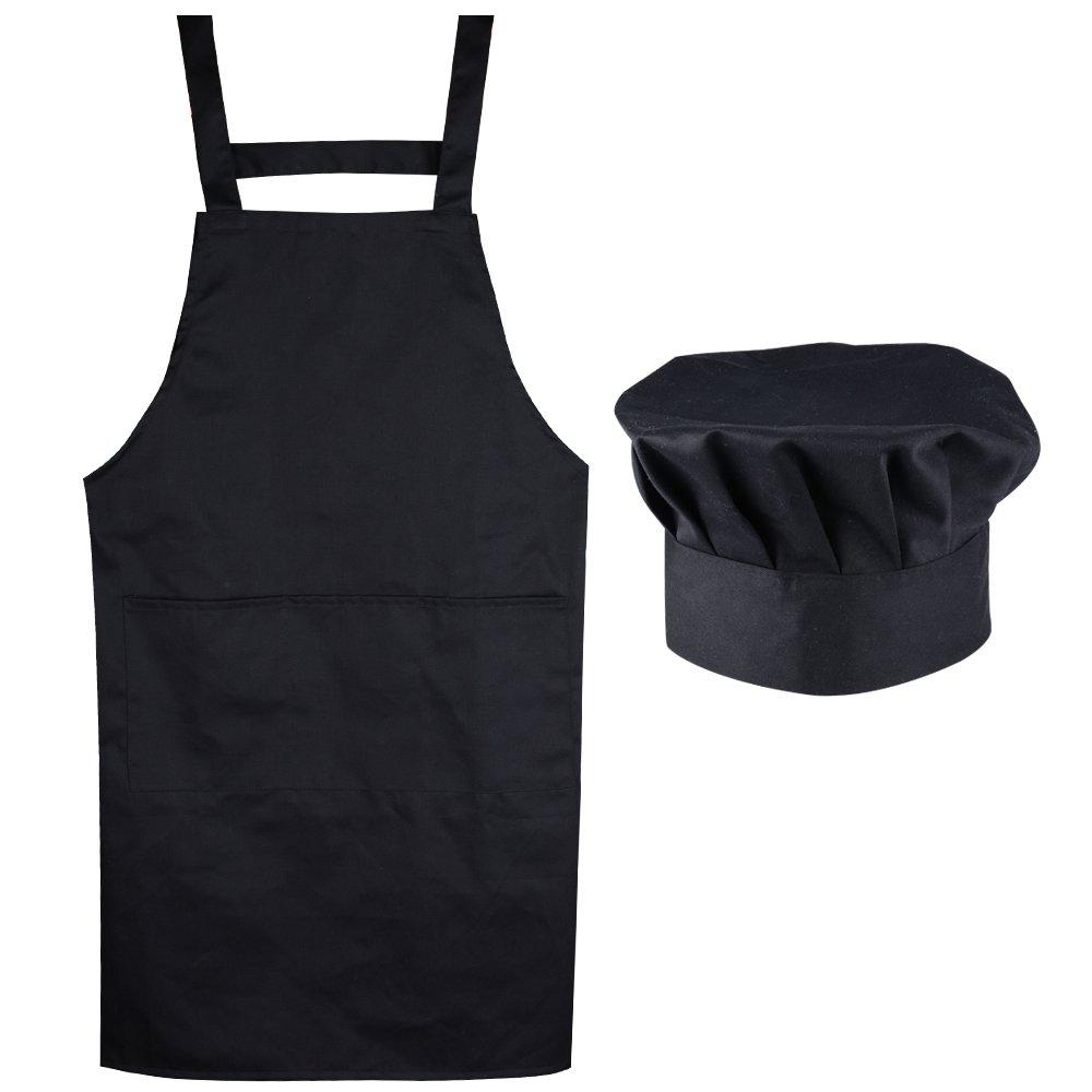 ポケット付きエプロンシェフクックエラスティックハットキッチンエプロン   B01MU6WFOH