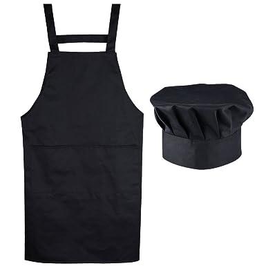 Aoner Tablier Chef De Cuisine Tablier Noir Unisexe Professionnel