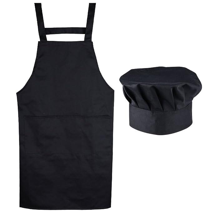 22885ac5445 AONER (Kit de 2) Unisex Delantal Mandil Original de Peto de Chef de Cocina  + Gorro Cocinero para Hombre Mujer Negro Talla Única: Amazon.es: Ropa y ...