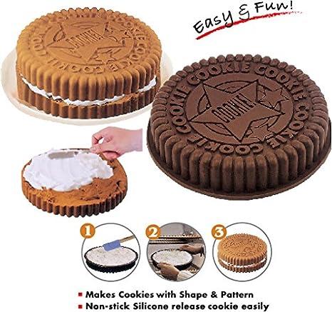 "2 x 8 ""Gran tamaño Oreo galletas molde de silicona pastel molde Pan bandeja"