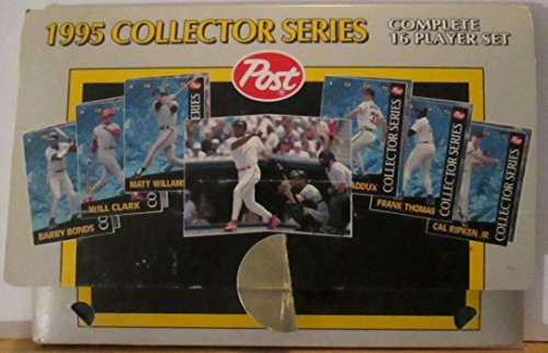 1995 POST CERALS COLLECTIBLE MLB PLAYERS TRADING CARDS - COMPLETE 16 PLAYER SET (INCLUDES: WADE BOOGS, KEN GRIFFEY JR., CAL RIPKEN JR., BARRY BONDS & MORE)