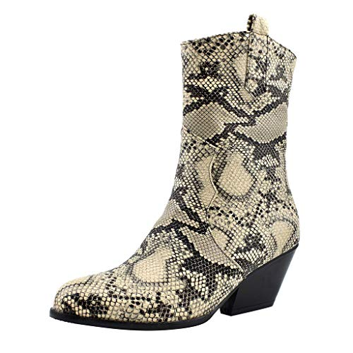 Casual Leopard Dress Boots,Londony❄ Womens PU Leather Oxfords Brogue Zipper Chunky Thick Heel Shoes Dress Pumps Oxfords Yellow
