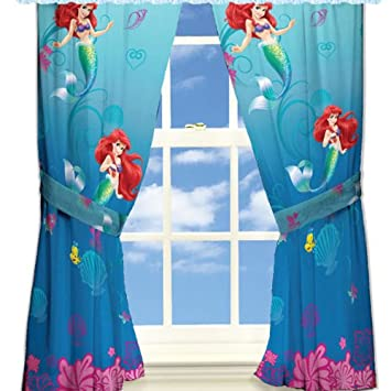 Amazing Disney Little Mermaid Curtains Panels Drapes, Set Of 2