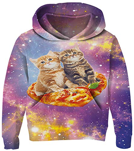 UNICOMIDEA Girls Sweater Spring Pullover Fashion Patterns Sweatshirt Pizza Cat 3D Print No Fade Hooded with Pockets Size S (Girls Sweaters Pullover)