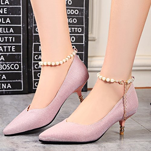 AIYOUMEI Womens Ankle Strap Glitter Pointed Toe Stiletto Mid Heels Strappy Pumps with Pearls Pink Jxn8SdA