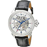 Lucien Piccard Men's 'Trevi' Mechanical Hand Wind Stainless Steel and Leather Casual Watch, Color:Black (Model: LP-40052M-02S)