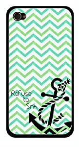 Cute Turquoise Chevron Zig Zag Refuse to Sink Snap-On Cover Hard Carrying Case for iPhone 4/4S (White)