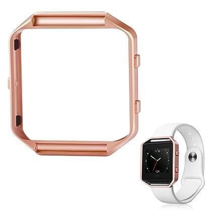 Marco para Fitbit Blaze, Cam de ulata accesorios notebook Marco Caja Metal Acero Inoxidable Reloj Marco Carcasa Soporte Funda Shell para Fitbit Blaze ...