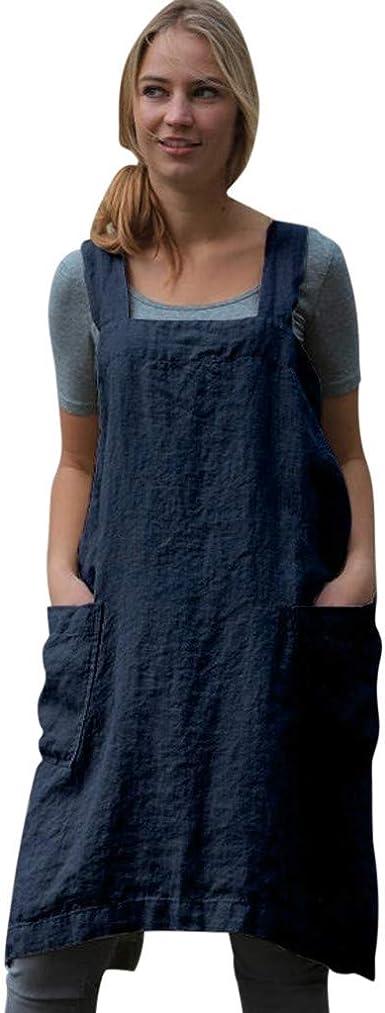 JiaMeng Vestidos Mujer Sexy Vestido Mini Manga Corta para Mujer Delantal de algodón de Lino Pinafore Square Delantal Vestido de Delantal de Trabajo de jardín: Amazon.es: Ropa y accesorios