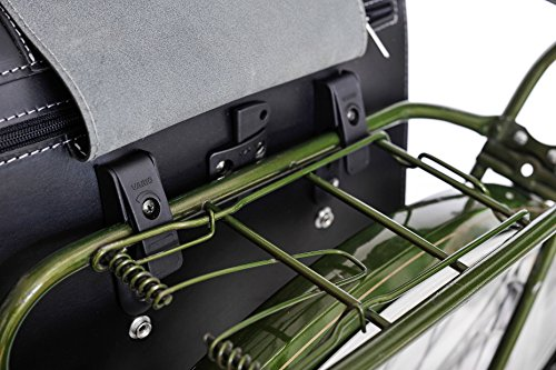 FSBIKE® BUSINESS RIDE Fahrrad Leder Gepäckträgertasche/Aktentasche | 100% Echtes Rindsleder/Premium Juchtenleder | Hohe Qualität | Organizer | Handgefertigt | Einseitig Black 8e6nNI8rX