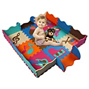 HAN-MM Baby Foam Mat with Fence Non Toxic Crawl Mat Baby Tiles Play Puzzle Mat with Softer Thicker EVA Foam Mat for Kids Toddlers Babies Playrooms/Nursery Tummy Time and Crawling Style 13 Music