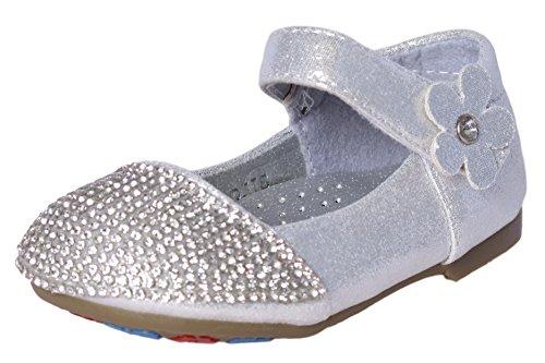 'Leylah Infant Girls Rhinestone and Flower Dress Ballet Flats Dance Shoes, Silver, Size 2' (Ballet Rhinestones)