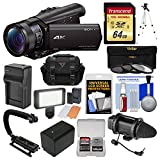 Sony Handycam FDR-AX100 Wi-Fi 4K HD Video Camera Camcorder with 64GB Card + Case + LED Light + Battery + Tripod + Microphone + 3 Filters Kit