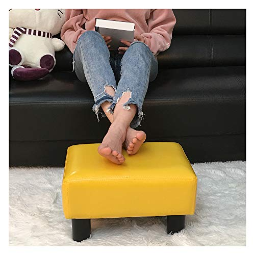 TOUCH-RICH Small Foot Rest Stool Rectangle Modern PU Faux Leather Ottoman Padded Seat Footrest Footstool in Lemon Yellow