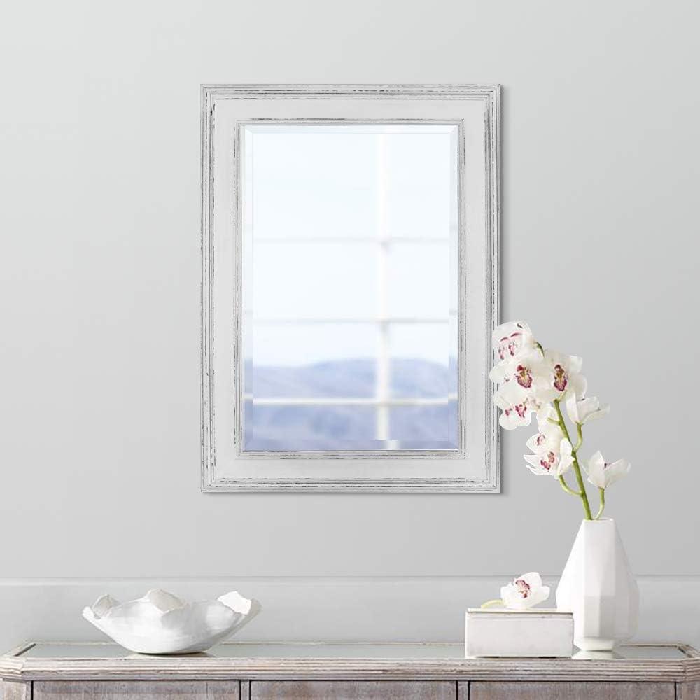 Madera Genuina Estilo campestre r/ústico en Color Blanco Estresado Espejo Rectangular de Pared Estilo Shabby Chic Grande 90x60cm