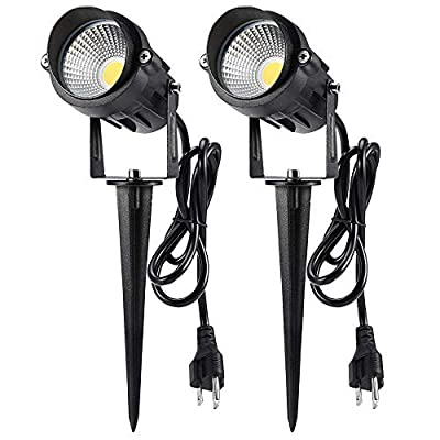LCARED Outdoor Landscape Lighting 10W,120V AC,Warm White Waterproof LED Landscape Lights for Yard,Patio,Lawn, Wall, Flood,Driveway,Tree Lighting,Metal Ground Stake (2 Packs)