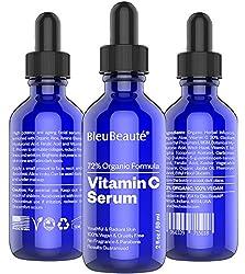 Vitamin C Serum (20%) by Bleu Beauté - High potency skin brightening anti aging facial serum - repairs sun damage and Fades spots, Dark circles fine lines and wrinkles ( 2 OZ)