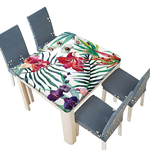 - PINAFORE Polyester Watercolor,Tropical,Pattern,Wallpaper,Background,Birds of Paradise,Orchids Linen Cotton Tablecloths for Kitchen Room 45 x 45 INCH (Elastic Edge)
