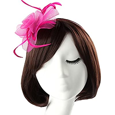 Fascinators for Women, Acecharming Elegant Flower Feather Headband Hat Fascinator Wedding Headwear Ladies Day Race Royal Ascot