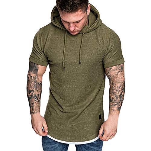 Zackate Mens Slim Fit Casual Short Sleeve Hoodie T-Shirts Top Sporty Hooded Drawstring Sweatshirts Army Green