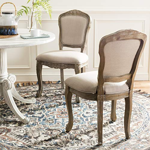 (Safavieh FOX6233B-SET2 Home Collection Burgess French Leg 37' Side Chair, Antique White)