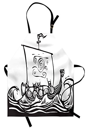Lunarable Viking Apron, Sketch Style Barbarian Long Boat Embarking on a Quest to Explore the World Wavy Sea, Unisex Kitchen Bib Apron with Adjustable Neck for Cooking Baking Gardening, Black (Female Barbarian Costume Ideas)