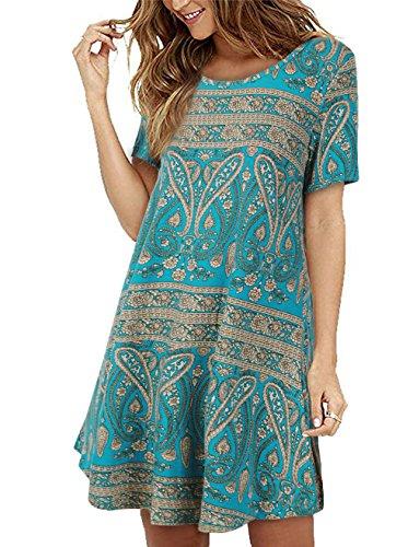 Faddare Geometric T-Shirt Dress, Women's Vintage Printed Loose Tunic Dress,Blue Green M (Shirt Geometric Dress)