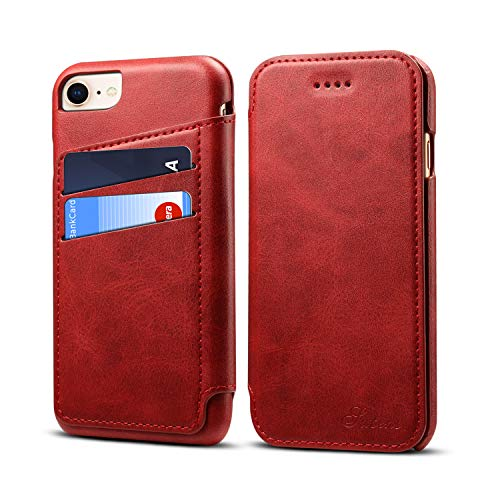 - Case Cover for iPhone8 iPhone7 2018 Leather,Red 5 Card Slot (ID Card, Credit Card) Viewing Stand Full Protection Anti-Scratch Concise Flip Shell Kickstand Gift Girls Boys