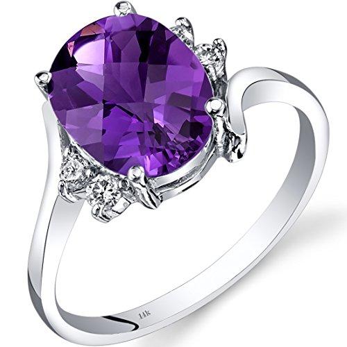 - 14K White Gold Amethyst Diamond Bypass Ring 2.00 Carat