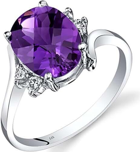 14K White Gold Amethyst Diamond Bypass Ring 2.00 Carat
