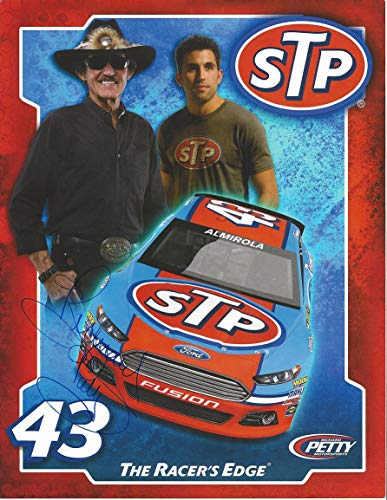 AUTOGRAPHED Richard Petty #43 STP Racing Ford Fusion THE RACERS EDGE (Petty Motorsports) Driver Aric Almirola Signed Collectible Picture NASCAR 9X11 Inch Hero Card Photo with COA