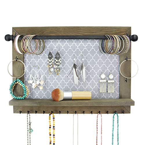 Wall Necklace Holder and Jewelry Organizer. Large rustic hanging display includes bracelet bar, earrings grid, 18 hooks, and shelf. Perfect gift for bridal shower, women, girls, or dorm room!