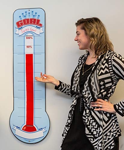 Goal Setting Thermometer Chart - Reusable Dry Erase Goal Chart with Adjustable Goal Tracking Red Ribbon, Tri-Folds for Easy Storage - 48