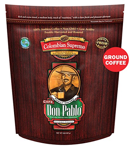 2LB Cafe Don Pablo Colombian Supremo - Drip Ground Coffee - Medium-Dark Roast 2 Pound (2 lb) Bag