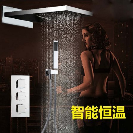 "GOWE Thermostatic Valve Mixer Tap 22"" Waterfall Rainfall Shower Faucet W/ Hand Shower Chrome Finish Gowegroup"