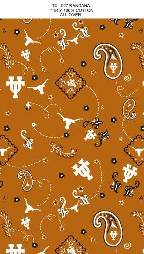 University of Texas Bandana Print Cotton Fabric, Burnt Orange & White - Sold By the Yard ()