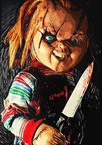 Zapista Chucky Illustration Fine Art Print Unique Horror Movie Artwork Child's Play Poster Home Wall Decor Unframed (17
