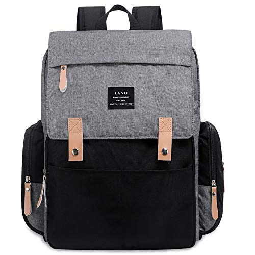 Land Backpack Diaper Bag for Mom/Dad, Baby Care Nappy Bag for Boys/Girls, Waterproof Travel Knapsack, Changing Pad (Grey&Black)