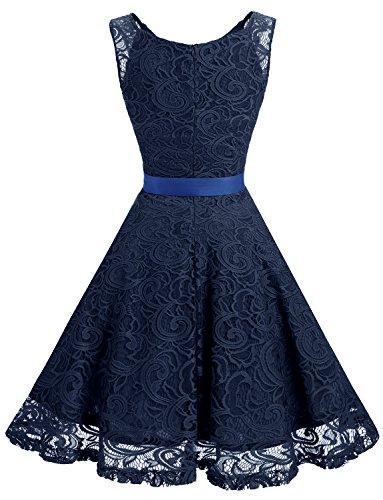 Dressystar Spitzen Festliches Cocktailkleid Marineblau Ohne aus Brautjungfernkleid Spitzenkleid Arm Kleid Knielang wqTXqpr