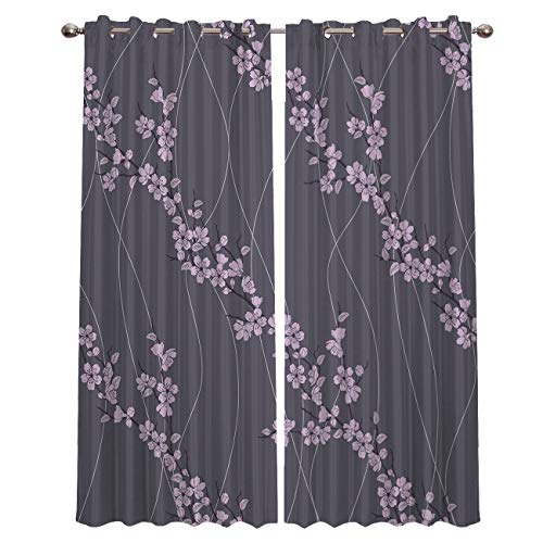 Room Darkening Window Curtain Panel Pair Blackout Curtains Beautiful Cherry Blossom Purple Flower Solid Pattern Metal Grommet Elegant Home Decor for Living Room Bedroom 52x96 Inch x2 -