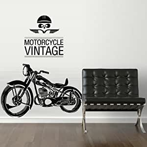 Motorcycle vintage wall decal vinyl sticker art decor for 70 bike decoration