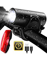 SUPERSTA USB Rechargeable Bike Light Set 600 High lumen Front and Rear Bicycle Safety Lights Super Bright LED Headlight and Tail Light Waterproof Flashlight for Night Rider
