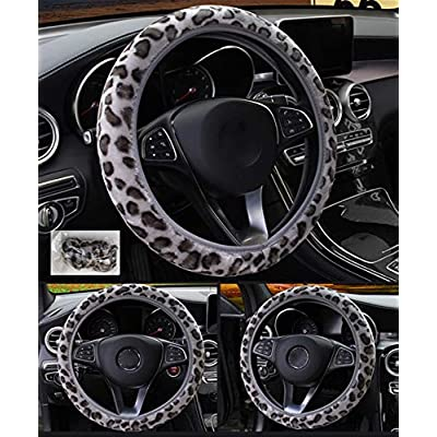 seemehappy Fluffy Leopard Print Elastic Car Steering Wheel Cover Anti-Slip Warm Steering Wheel Cover Fit for 14inch - 15inch (Grey): Automotive