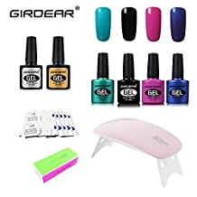 Girdear Soak Off Gel Nail Polish Kit, with SUNMini LED Lamp, 10pcs Removers & 10 Pcs Cleanser Wraps, Buffer Files, and Base Top Coat Set 4 Colors Nail Art Gift DIY Set #C004