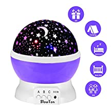 Starry Night Light Lamp, SlowTon Romantic 3 Modes Colorful LED Moon Sky Dreamer Desk Rotating Cosmos Starlight Projector for Children Kids Baby Bedroom (Purple)