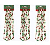 Home Décor Kurt Adler 9' Green Red and White Bugle Plastic Bead Garland Christmas-Set of 3