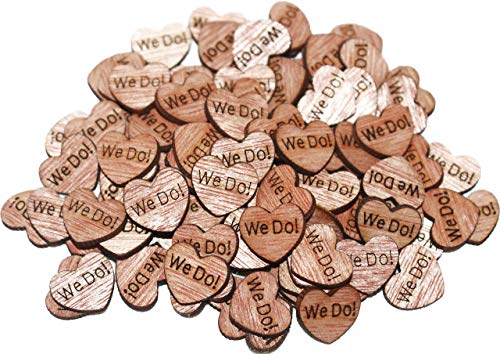 100 TINY We Do Wooden Hearts - Wood Table Confetti, Embellishments, Scatters, Invitations, Table Decor, Rustic Weddings and Events