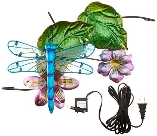 (Continental Art Center CAC40078 16.93 by 9.45 by 5.51-Inch Dragonfly Fountain with Plug-In Pump for 18-Inch Glass Bird Bath by Continental Art)