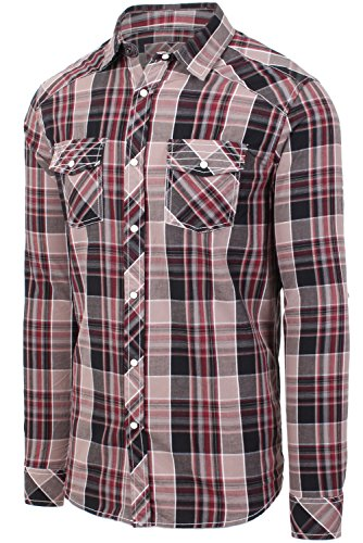 Hipster Western Plaid Long Sleeve Pearl Snap Shirt 01BROWN Checkered Shirts (Plaid Flannel Western Shirt)